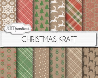 "Christmas Kraft Paper ""CHRISTMAS KRAFT"" shabby, grunge, kraft paper, plaid paper, red holiday, reindeer, snowflakes, xmas and ornaments"