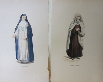 "Pair, Hand Colored Engraving Prints,  Book Plates, ""Conceptionniste"", and ""Carmelite au Choeur"", by E. Duverger"