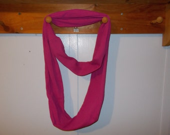 """Infinity Scarf. Knit hot pink infinity scarf.  Approx 5"""" x 72"""".  Great light weight scarf to add color  to your outfit."""