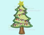 Christmas tree embroidery applique design, Digitized star lights tree Machine Embroidery, christmas-022e