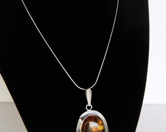 Oversized Genuine Baltic Amber Artisan Sterling Silver Pendant