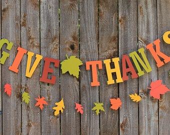 Give Thanks Banner, Thanksgiving Banner, Fall Garland, Fall Banner, Autumn Garland, Photo Prop, Fall Wall Decor, Rustic Fall Decor