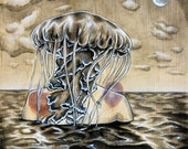 Cambrian Jellyfish Man Signed Matted Print by Tiffany Dae