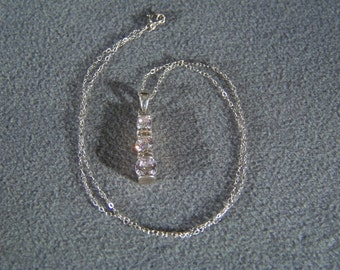Vintage  Sterling Silver 3 Round White Topaz Pendant Charm Necklace Chain     W