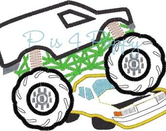 instant download 2Monster truck over car applique design