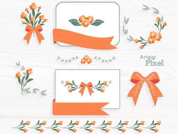Orange Flower Clip Art Set Flower Clipart Card Making Frame