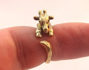 Miniature African Baby Giraffe Ring Bronze Ring Baby Jewelry Baby Ring Animal Jewelry Jewellery Women's Cute Ring Cheap Jewelry sizes 4-8