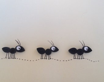 Quilled card, Black Ants, Quilled Ants Card, Blank Card