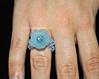 Light Blue Swarovski Crystal Element Flower Ring