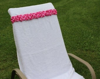 Hot Pink Trellis Towel Cinch.  Beach chair holder. Christmas break family cruise. Family vacation. Resort vacation. Travel accessory.