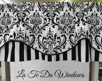 "SALE Valance window treatment blk and white, lined 50x20"" lined corded"