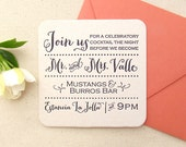 Letterpress Coaster Invitations -  1color - 50 (fifty) Coasters with envelopes, Modern, Unique, Engagement Party, Rehearsal Dinner, Birthday