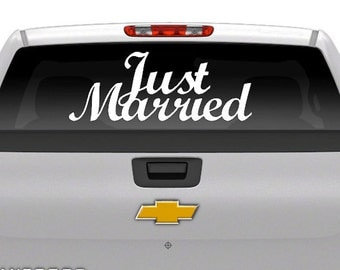 """Wedding Day Decal """"JUST MARRIED"""" Vehicle Decal -Vinyl Decal Wedding Day Vehicle"""