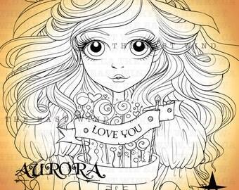 Digital stamp- 'Aurora' 'Love you' - 300 dpi 4 JPEG/PNG files - tewmothersday - MAC_aurora_12