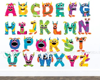 Monster Wall Decal, Monster Wall Sticker, Alphabet Wall Decal, Alphabet Wall Sticker, Playroom Wall Decal, Playroom Wall Sticker - 01-0045
