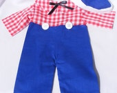 Raggedy Andy Outfit with Hat For 20 inch Doll - Assorted Colors - see pictures for details