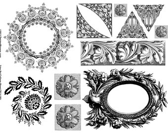 Digital Victorian Line Art Illustrations Collage Sheet for Mixed Media, Steampunk Art in both JPEG and PNG files, CS13-195j