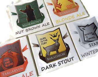 Game of Thrones Coasters Variety 5 Pack of Baratheon, Lannister, Targaryen, Stark, Mormont  (Hand Brushed Glossy Finish)