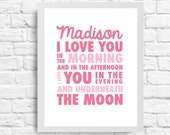 8X10 I Love You Underneath The Moon-  Wall Art - Nursery Art- Customizable Name- Inspirational Quote- Baby Girl or Boy Nursery- Typography