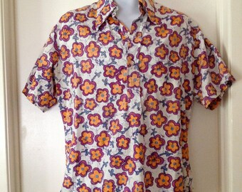 Vintage 70s Mauna Kea Beach Hotel Hawaiian Pullover Shirt Men's Medium
