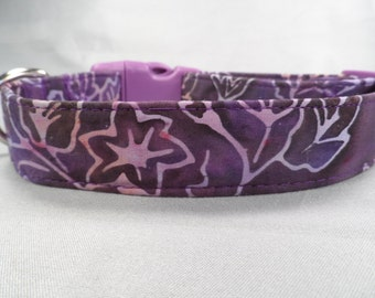 Purple Vine Batik Dog Collar