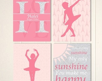 Baby girl nursery, ballerina nursery, French nursery, nursery wall art, you are my sunshine, set of 4 nursery prints