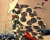 Japanese art prints, Tokiwa-Gozen walking in the Snow Utagawa Kuniyoshi FINE ART PRINT, woodblock prints, paintings, posters, asian wall art