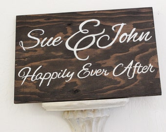 wedding wooden sign, personalized, happily every after, directional wedding sign or prop