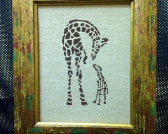 Hand Painted Burlap Panel - Giraffes