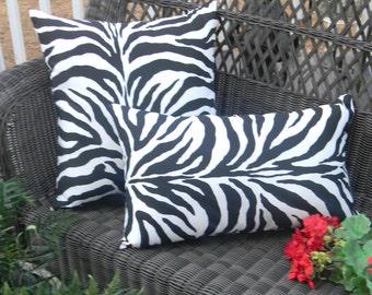Set of 2 - Black and White Zebra Print  Indoor / Outdoor Square & Rectangle / Lumbar Throw Pillows