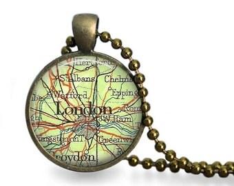 London map necklace vintage London map atlas pendant England travel jewelry.