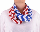 Chevron Infinity Scarf, Baby Scarf, Infinity Scarf, Chevron Infinity, Team Scarf, Red Royal Blue, Teen Scarves, Gift for Her, Sports Scarf