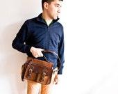 Leather Shoulder Bag, Brown Handbag, Genuine Leather Bag, Gift for Her, Gift for Him, Brown blue, For Father, Back to School
