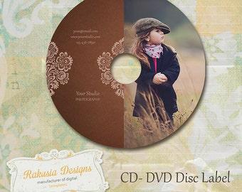 CD DVD Label Template, brown, damask,  vol.9