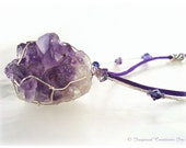 ANCIENT WISDOM: Meditation & Intuition, Amethyst Crystal Druzzy w Swarovski Crystal, Zen Yoga Metaphysical Magic Reiki Inspired
