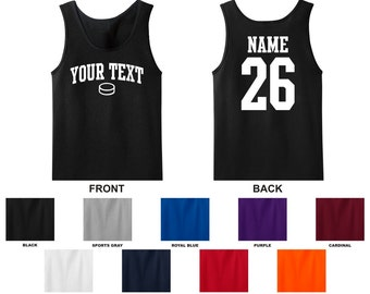 Personalized custom your text and number hockey puck tank top, you choose the text for the front and back, ARCHED TEXT
