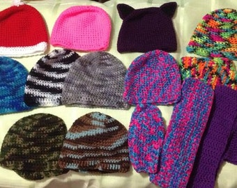 Crocheted Hats, Wristers, Scarves