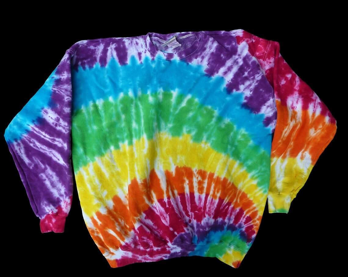 tie dye crewneck sweatshirt sleeved xl