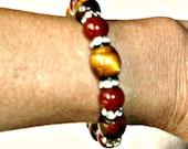 Vintage Red Jasper & Tiger's Eye Bracelet
