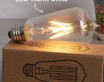 New Edison style T58 LED light bulb - E27 2w 4w  lamp - Vintage decor your home - globe glass bulb - desiger lamp