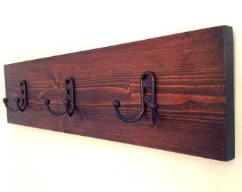 Pine Hat Rack / Coat Rack / Coat Hook / Robe Hook / Wall Mounted Coat Rack / Walnut / Kona