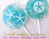 Beach Wedding Favors, Blue Wedding Favor, Beach Wedding, Candy Lollipops, Candy, Sparkle Lollipops, Sweet Caroline Confections -Set of Six