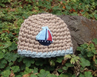 READY TO SHIP: Newborn Baby Boy Chunky Light Brown Beanie Hat with Sail Boat Applique