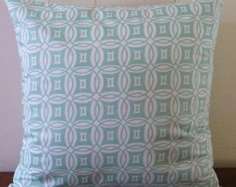 Decorative Home Decor Pillow Cover, Cotton Fabric,Modern, Geometric,Aqua, Designer Fabric, Desert Daydreams by Anthology Fabrics