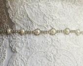 Pearl & Crystal Belt or Headpiece - Wedding Headpiece, Bridal, Wedding Sash, Rhinestone, Bridal Belt, Wedding Belt, Headband - Grace