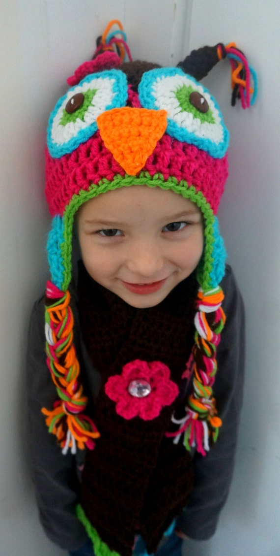 Crochet Pattern Hat Scarf Combo : Crochet OWL hat and Scarf combo