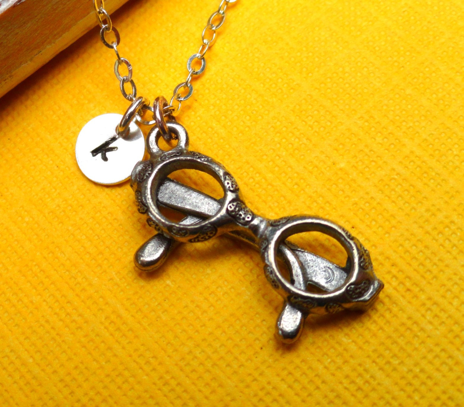 reading glasses personalized initial necklace pewter