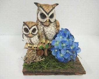 floral centerpiece Wild life Diorama on barn wood with recycled owl pair bird figurine.porcelain  ooak