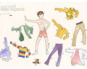 Dress-Up Jarvis, cut-out-and-keep Paper-Doll with up to 32 possible outfit combinations