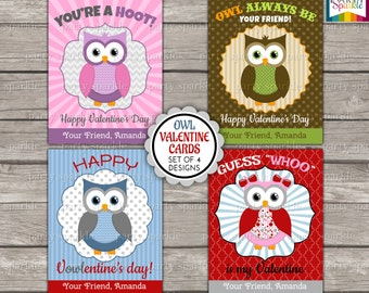 Valentines Day Printable Cards - Owls - Kids Personalized Digital Party Handouts